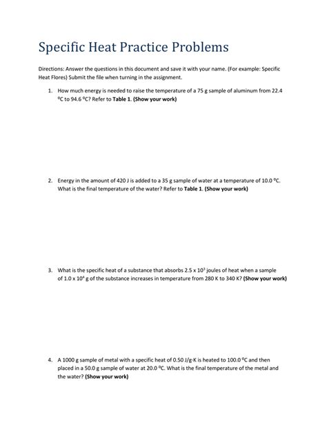 Specific Heat Practice Problems Worksheet With Answers Worksheets Tataiza Free Printable