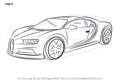 Learn How To Draw Bugatti Chiron (sports Cars) Step By