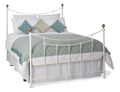 504 white metal bed frame obc virginia 4ft 6 satin white metal bed frame by