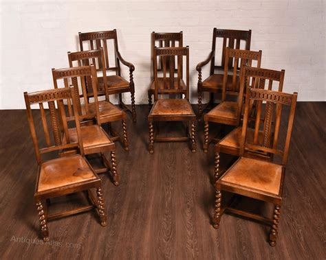 quality set of 10 barley twist dining room chairs