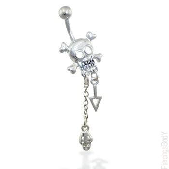 skull belly ring  dangles body piercings jewelry
