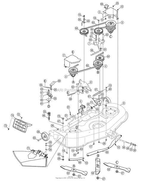 46 Inch Mtd Mower Deck Belt Diagram by Mtd 13rn771h729 2007 Parts Diagram For Deck Assembly 46 Inch