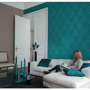 papier peint baroque floral bleu canard et kaki metallis With exceptional bleu turquoise avec quelle couleur 2 chambre taupe et beige