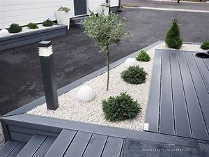 30 ideas preciosas para decorar tu jardin con grava blanca With jardin paysager avec piscine 5 terrasse en bois composite fiberon xtrem galaxy jardin