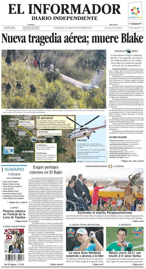Versión digital de el informador. Periódico El Informador (México). Periódicos de México. Edición de sábado, 12 de noviembre de ...