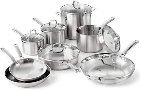 amazoncom calphalon classic pots  pans set  piece cookware set stainless steel kit
