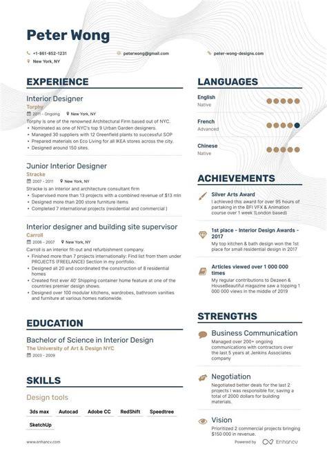 job winning interior designer resume examples samples