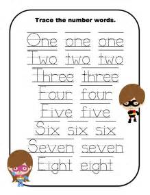 Printable Number Words Tracing Worksheets