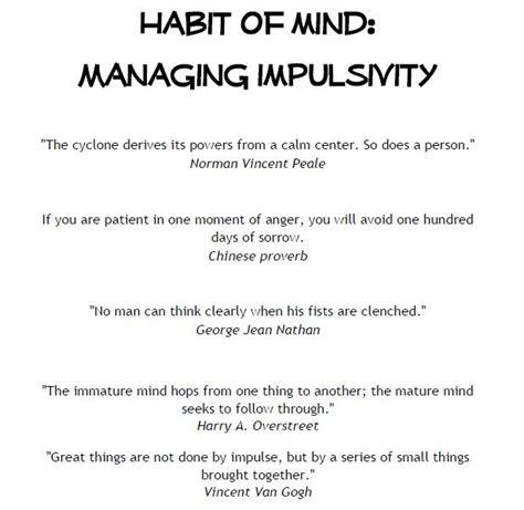 impulsivity worksheets managing impulsivity habits of mind