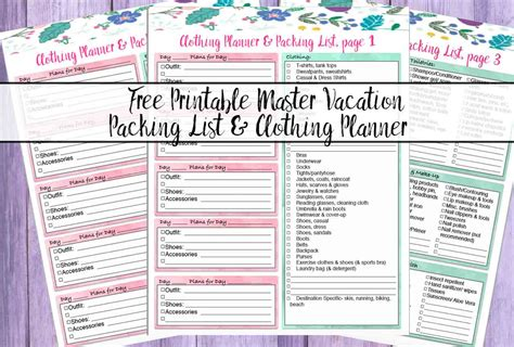 Free Printable Master Vacation Packing List u0026 Clothing Planner