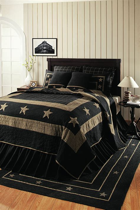 burlap star black king quilt    ihf india home
