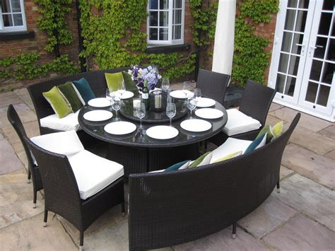 large dining table benches and chairs rattan garden