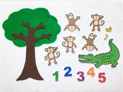 Monkeys Five Clipart Alligator Swinging Tree Felt