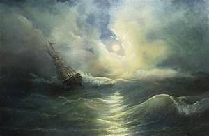 Storm Ravaged Ship Painting by Vladimir Bibikov