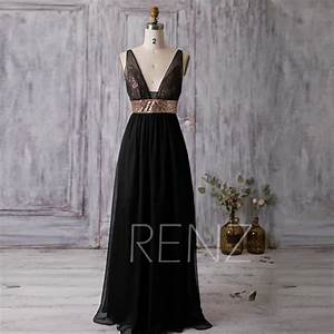 2016 black bridesmaid dress rose gold sequin wedding With black and gold wedding gown