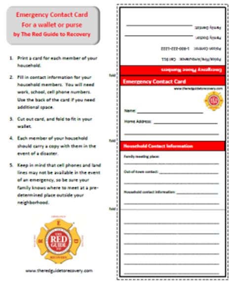 emergency contact card  red guide  recovery