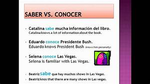 Conocer Verb Chart Saber And Conocer Explanation Youtube