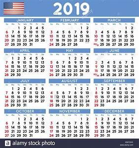 2019 calendário quadrado elegante inglês nos EUA Ano