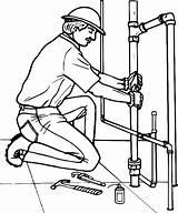 Plumber Coloring Pipe Broken Drawing Replacing Drawings Pages Sketch Getdrawings Sink Template Teacher sketch template