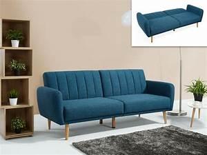 Canapé Bleu Convertible : canap convertible clic clac en tissu 3 coloris venlo ~ Teatrodelosmanantiales.com Idées de Décoration