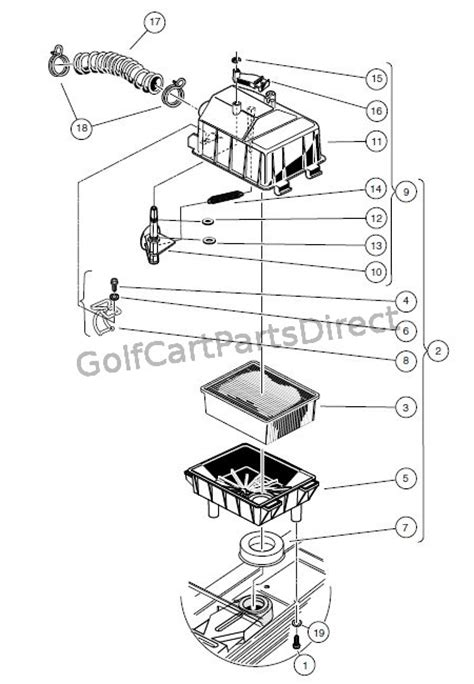 Car Engine Diagram For Intake by Air Box And Intake Hose Club Car Parts Accessories
