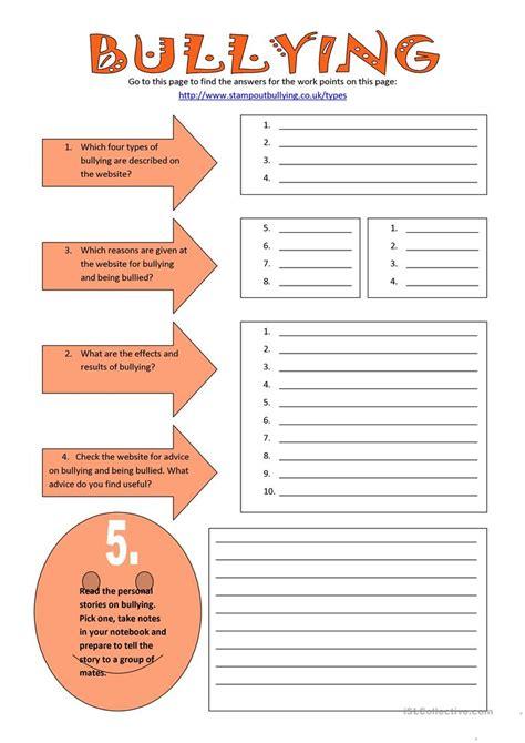 worksheets free printable bullying worksheets