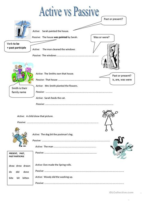 active vs passive worksheet free esl printable