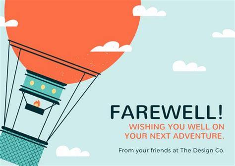 sky blue hot air balloon farewell card templates  canva