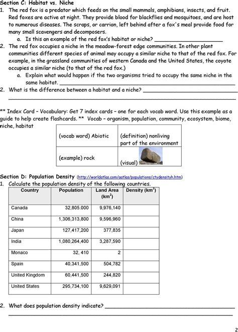 population community ecosystem worksheet pdf
