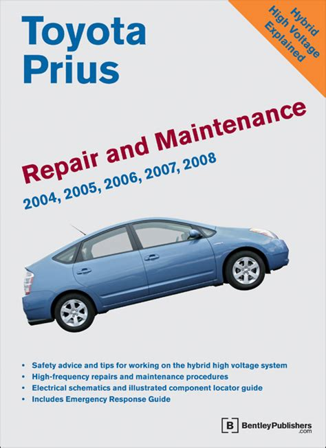 old car owners manuals 2004 toyota prius user handbook front cover toyota prius repair and maintenance manual 2004 2008 bentley publishers