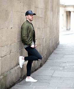 Topshop Green Bomber Jacket And Black Ripped Skinny Jeans Mens Outfit | Your Average Guy