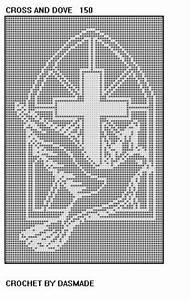 #150 Cross Dove Filet Crochet Doily Afghan Bedspread