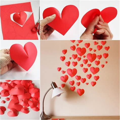 how to diy creative paper hearts wall decor