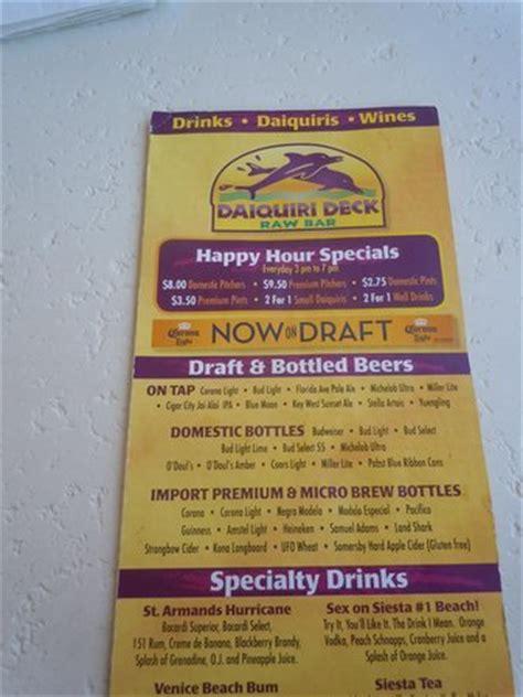 menu picture of daiquiri deck siesta key siesta key tripadvisor