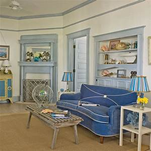 Beach themed living room 20 beautiful beach cottages for Coastal themed living rooms