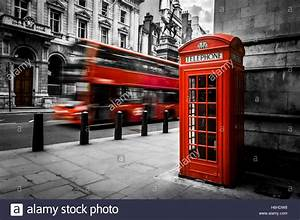 London  In Gritty Black And White  With Moving Bus And A