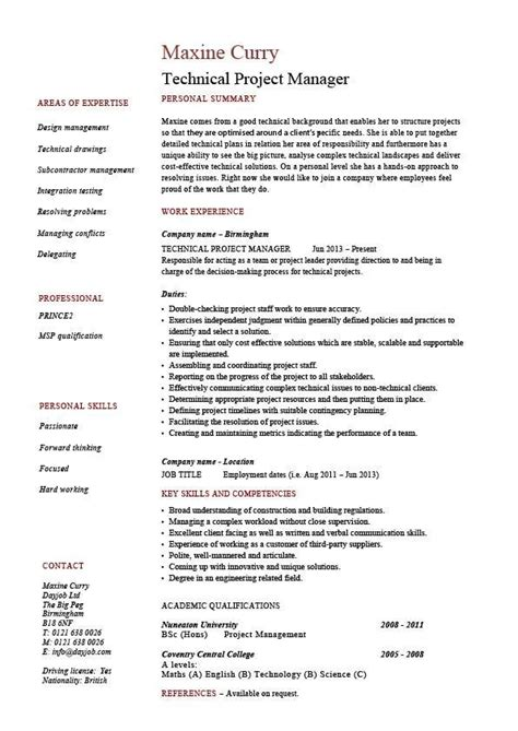 technical project manager resume  job description