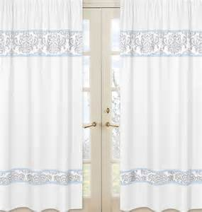 White And Gray Window Curtains by Blue And Gray Damask Curtain Panel Pair 84 Inch Avery