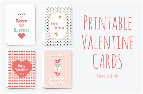 printable valentine cards card templates  creative market