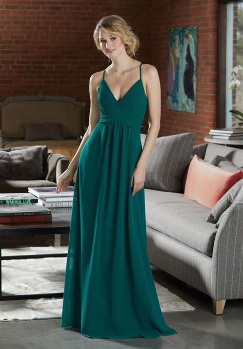 sexy chiffon bridesmaid dress  deep  neckline style