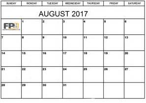 August 2017 Calendar Printable Template
