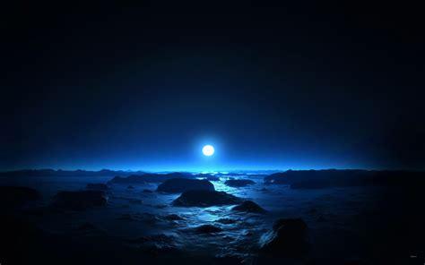Sea & Moon at Mid Night Wallpapers | HD Wallpapers | ID #9928