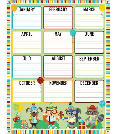 Birthday Chart Template For Classroom by Birthday Chart Grade Pk 5 Carson Dellosa Publishing