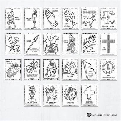 Coloring Catholic Lent Symbols Lenten Printable Cross