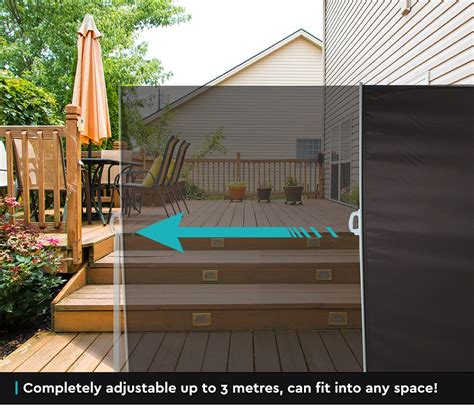1 8x3m retractable side awning privacy screen shade patio