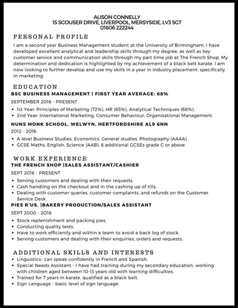 Curriculum Vitae Exles For Students by Cv Template Undergraduate Student 2 Cv Template