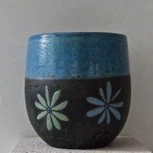 Vase Bleu Canard : mug raku bleu canard motifs paquerettes ceramic pottery poterie art c ramique ceramique ~ Melissatoandfro.com Idées de Décoration