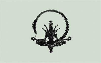 Alien Aliens Xenomorph Yoga Cartoon Skull Drawing