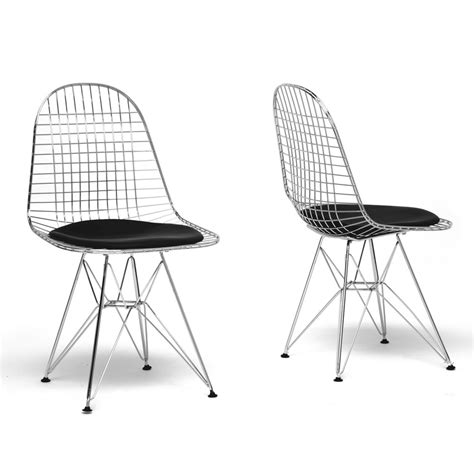 baxton studio avery mid century modern wire chair with