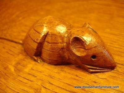 vintage mouseman furniture carved mouse wood